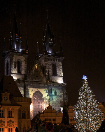Church of Our Lady of Týn at Night with Christmas Tree