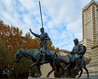 Don Quixote and Sancho Panza in Plaza de España, Madrid, Spain
