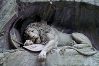 Bertel Thorvaldsen's Lion Monument close-up
