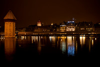 Lucerne lights and octagonal water tower at night