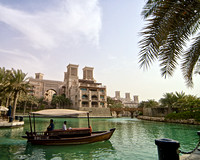 Madinat Jumeirah waterway with boat, Dubai 1