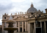 Bernini's matching fountain and Saint Peter's Basilica