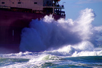 Grounded Pasha Bulker pounded by waves