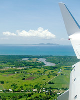 Winding River and Distant Island, Viti Levu, Fiji, Aerial